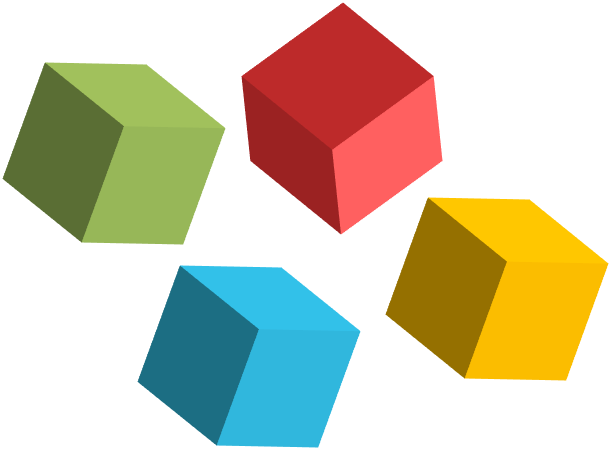 Four colored cubes, representing customised courses.