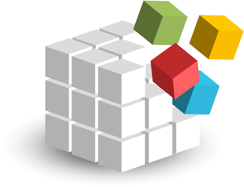 Cube composed of white cubes and four colored cubes, representing customised courses being integrated into the EIPM Library of existing courses.