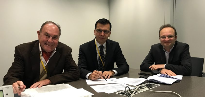 Some members of the EIPM-Peter Kraljic Awards Jury during a meeting in November 2016: Dr Peter Kraljic, President of the Jury, Danijel Banek, from Atlantic Grupa, and Hugues Schmitz, from Lyonnaise des Eaux.